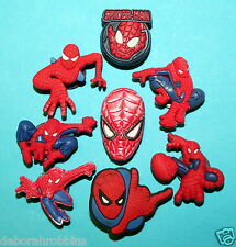 Spider-Man Shoe Decorations 8 Cake Party Favours Cupcake Toppers Spider Man NEW