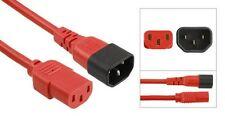Leistung Verlängerungs Kabel IEC C14 Stecker auf IEC C13 Buchse Rot 2m 2 meter