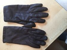 M&S Womens purple leather gloves pink fleece lining