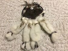 Native American Dream Catcher Suede Fur Wool & Feathers - Metal Cattle Skull