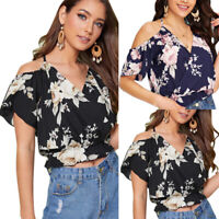 Women Floral Cold Shoulder Summer Short Sleeve Top Blouse Beach Casual T-Shirt