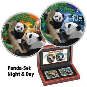 China - 2 x 10 Yuan 2021 - Panda - Night & Day - Satz - 2 x 30 gr Silber ST