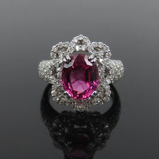 Fine 2.70ct Vivid Pink Tourmaline & 1.45ct Diamond 18K White Gold Cocktail Ring