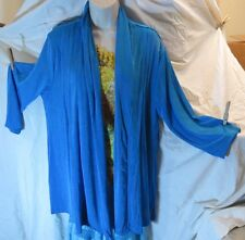 NWT Polyester/Spandex Soft Turquoise Blue Jacket Plus Size, 3/4 length Sleeves
