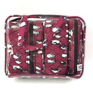 Vera Bradley 4 Piece Cosmetic Organizer Playful Penguins Cabernet Dark Pink