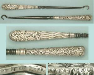 2 Antique English Sterling Silver Button Hooks by Adie & Lovekin * 1898 & 1899