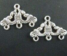 80pcs Tibetan Silver 3-to-1 Earring Connector Finding 23.5x16x2mm 116