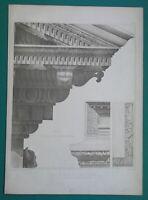 ROME Temple of Vespasian Cornice Eave Details - 1905 d'Espouy Antique Print