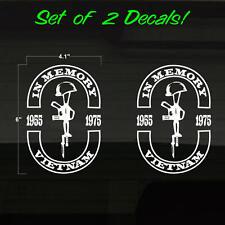 "Vietnam War In Memory Set of 2 WHITE Decal Stickers 4"" x 6"" Battlefield Cross"