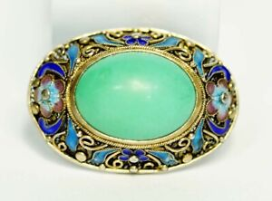 1900' China Chinese Export Silver Gild Filigree Turquoise Cabochon Enamel Brooch