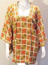 Vintage Silk Hand Made Kimono Michiyuki Outerwear Robe Asian MCM 30's 40's