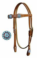 WESTERN BLING! SHOW HORSE BRIDLE HEADSTALL WITH 7' SPLIT REINS & SILVER STUDS