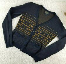 Pendelton womens navy blue merino wool sweater cardigan SIZE S gold print (T)