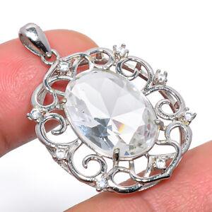 "White Topaz & Cz Gemstone 925 Sterling Silver Rhodium Plated Pendant 1.40"" S2680"
