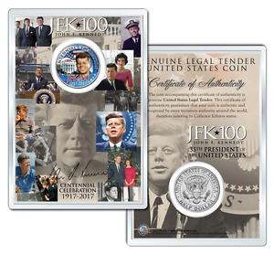 JFK100 JOHN F. KENNEDY Centennial 2017 JFK Half Dollar Coin w/ 4x6 Lens Display