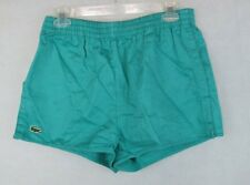 Vintage Izod Lacoste Swimming Running Shorts GREEN L Large Alligator Logo
