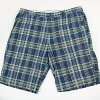 J. Crew Plaid Flat Front Casual Shorts Mens Size 36 Waist 100% Cotton Blue Print