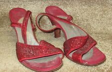 Vintage 1940's/50's Beaded Red Shoes Middle Shoes Singapore size 7 approx
