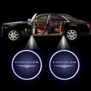 2Pcs WIRELESS For CHRYSLER LOGO LED Car Door Step Courtesy Shadow Laser Lights