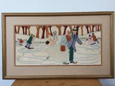 """Vtg Embroidery Crewel Winter Ice Skating Couple Forest Lake Pond Frame Mat 25"""""""