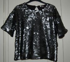 New M H&M Divided Dark Grey Mat Sequin Covered Short Sleeve Wide Fit Top Party