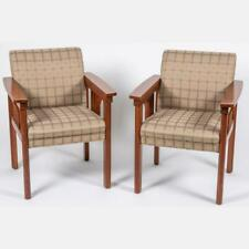 Pair of Art & Craft Mission Style Mahogany Arm Chairs Upholstered in Grey Fabric