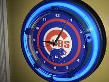 Chicago Cubs Baseball Gameroom Man Cave Advertising Neon Clock Sign