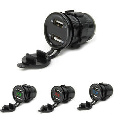 12V Motorcycle Car Dual USB Cigarette Lighter Charger Socket Plug LED Voltmeter