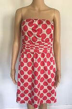 The Limited Bright Pink White Polka Dotted Strapless Dress W/ Zipper Size 8