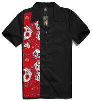 Men's, rockabilly shirt, Hot Rod, Rock n roll, muscle car, Tattoo, Skulls, Red