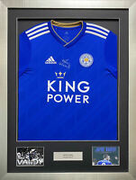 Jamie Vardy Signed Leicester City Home Shirt Framed - AFTAL RD