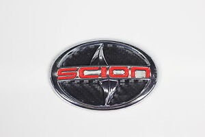 Scion Emblem large Red Carbon Fiber style tC xA Front letter Badge Sticker 3D