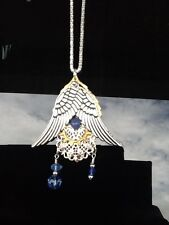 "Steampunk Angel Wing Pendant Gear Filigree Charms Silver/Blues 17"""