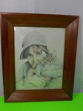 VTG 1977 Kathy Treleani Sketch Hand Signed Numbered Print Cat Framed Wood Glass