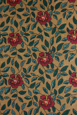OOP 4 1/2 Yds. FLORAL LEAVES COTTON FABRIC BERNATEX ISABELLA ST. NICOLE DESIGNS