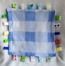 """12"""" Blue Lovey Ribbons Tags Baby Security Blanket Solid Blue Plaid Taggie"""