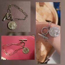 Bracelet Maillon Large Fermoir Marin Pièce Monnaie  Napoléon Argent Acier