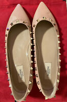 Valentino Garavani Rockstud Women's Ballet Flat Shoes Nude Leather Size 40 NEW