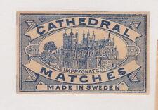 Ancienne étiquette  allumettes  Suède  BN21385 Cathédrale