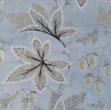 """2.2 meters x COLEFAX and FOWLER """"Lindon"""" Linen fabric Olde Blue/Grey leaves"""