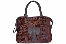 ALMAPLENA Womens Casual Fashion Purple Jacquard Faux Leather Italian Tote Bag