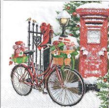 4 Solo Papel Decoupage Servilletas. Bicicleta En La Nieve, Invierno, Diseño de Perro Navidad, - X162