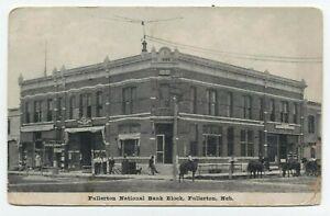 NE ~ Horses at National Bank Block FULLERTON Nebraska 1909 Nance County Postcard