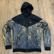 Nike Windrunner Black & Gold Foil Metallic Tracksuit Red Top Jacket Size Small