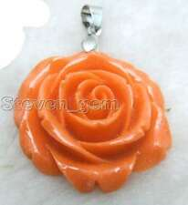 35mm Orange Rose Synthesize Coral Pendant for Women Jewelry pen55