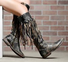 Bed Stu Hoplia Fringe Trim Tall Riding Boots Black Lux Size 7.5 (Runs Small 7 ?)