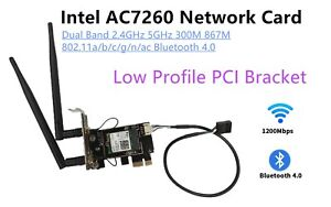 Intel AC 7260 2.4G/5G 867Mbps BT4.0 Network Card With Low-Profile PCI Bracket