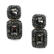 ANTHROPOLOGIE BLACK EMBOSSED STONES SQUARE GLASS DROP EARRINGS NEW