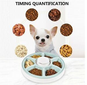 Round Automatic Cat  Dog Feeder Timing 6 Meals 6 Grids Food Dispenser Dish