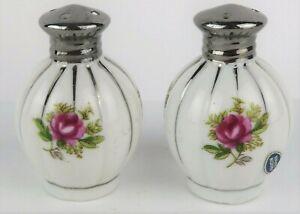 Vintage Ceramic White Pink Floral Salt Pepper Shaker Set Made in Japan